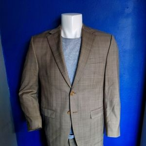 Polo Ralph Lauren Tan Plaid Suit Size 38 Short
